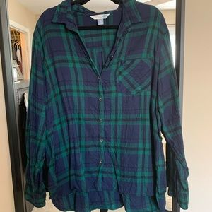 Plus Size Blue + Green Flannel